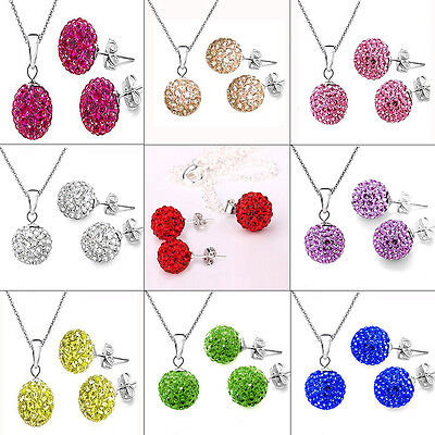 Stud Earrings Jewelry Set Gift Silver Plated Chain Crystal Disco Ball Necklace
