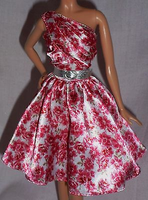 * Dress & Belt Only ~ Barbie Doll Floral Southern Belk Model Muse Cocktail Gown