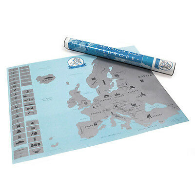 Europe Map Scratch Off Poster Personalized Travel Vacation Personal Log