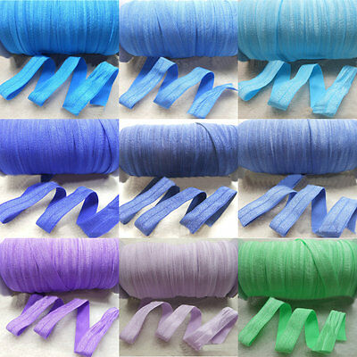 5 Yards Fold Over Elastics Polyester Satin Baby Girls HeadBand Lace Sewing Trims