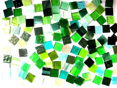 400 Grams Mixed GREEN Stained Glass Mosaic Tiles 2cm x 2cm NEW Handy Bigger Size