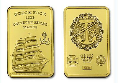 Gorch Fock Ship Sailing Gold bullion Navy Bundeswehr with 999 magnification