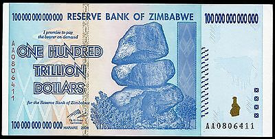 ZIMBABWE 100 Trillion Dollars 2008 P-91 UNC uncirculated banknote
