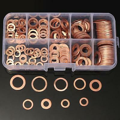 Assorted 9 Sizes 200PCs Solid Copper Washers Flat Ring Sump Plug Oil Seal Case