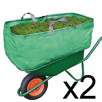 2 x Equestrian Stable Wheelbarrow Bag Heavy Duty Increased Capacity Straw 270L