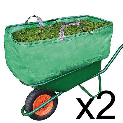 2 Garden & Farm Wheelbarrow Bags Heavy Duty Increased Capacity Grass Leaves 270L