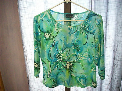 BRITTANY BLACK Floral 3/4 Sleeve Stones Poly Evening Top Chest 36 Women L #3656
