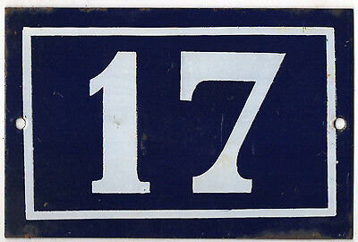 Old blue French house number 17 door gate plate plaque enamel metal sign steel