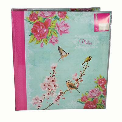 "Photo Album Birthday ""Bird Flower"" Design - Pink & Blue - 104 Photos 5 x 7"