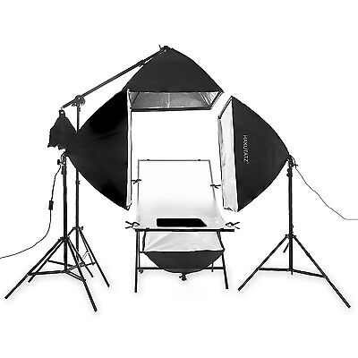 Photo table Foldable 60x100cm + 2x Daylight Lamps + 1x gallows Softbox 600W