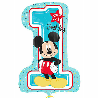"""28""""  Disney Baby Mickey Mouse 1st Birthday Party Foil Number Supershape Balloon"""