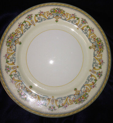 "Aynsley England Henley Dinner Plate 10 1/2"" Gold Trim Green Backstamp Flowers"