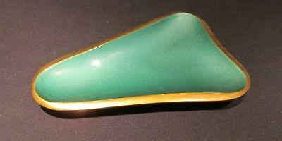 Hakuli Israel Heavy green Brass triangular dish with rounded edges