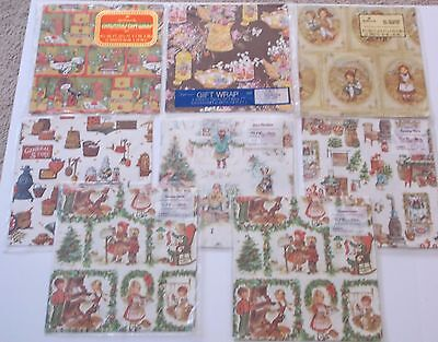 VINTAGE Wrapping Paper - 16 Flat Sheets - Christmas, General Store  NIP 1970's