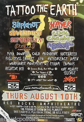 Slipknot/slayer/sevendust/sepultura/coal Chamber 2000 Denver Concert Tour Poster