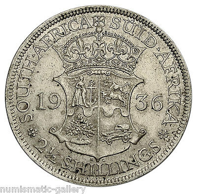 SOUTH AFRICA 2-1/2 SHILLINGS 1936 Silver AU GEORGE V