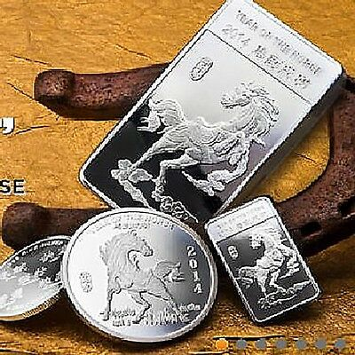 999 Silver coin bullion Year of the Horse 2014