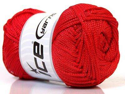 Lot of 4 x 100gr Skeins Ice Yarns MACRAME CORD Knitting Wool Red