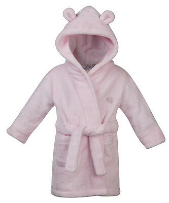 Babytown Baby Girls Velvety Soft Hooded Dressing Gown Pink