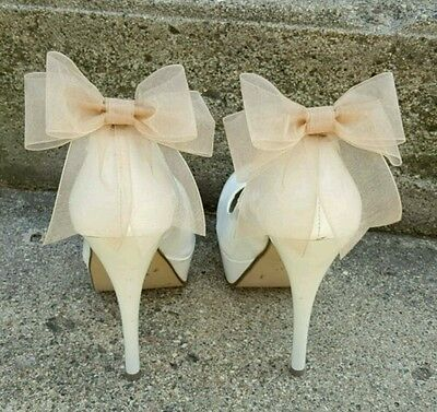 Shoe Clips, ivory Shoe CLips, Organza Bows, Shoe Clips For Bridal Shoes, NEW