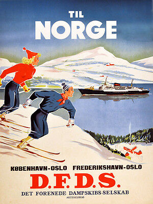 Oslo Norway Europe Ship Ocean Port Travel Tourism Vintage Poster Repro FREE SH