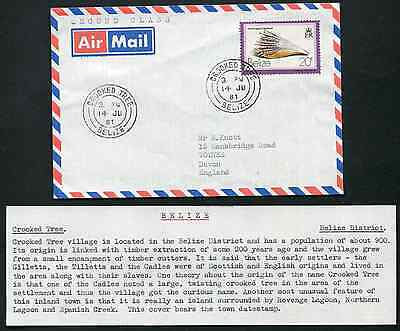 BELIZE (13510): shells/CROOKED TREE cancel/cover