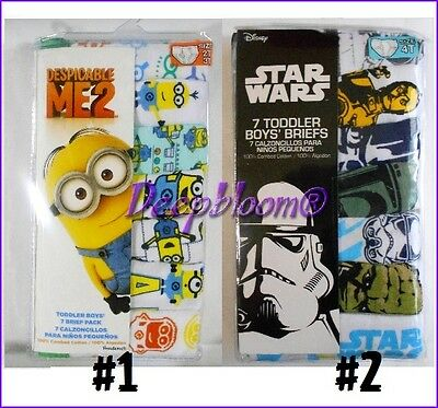 Pack 7 Brief Panties Underwear Boys 2T 3T 4T 5T Toddler Minions Star Wars New