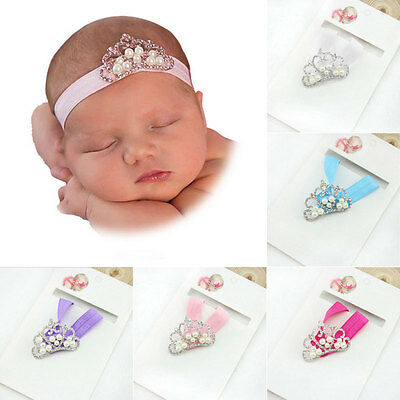 Baby Girl Newborn Infant Princess Pearl Crown Headband Hair Bow Band Photo Props