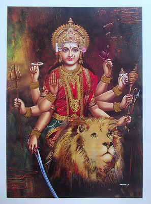 DURGA BHAVANI MAA with Lion - High Quality Thick POSTER (15x20 Inch)