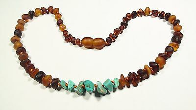"""Natural genuine unpolished Baltic amber baby teething necklace 13"""" N143"""