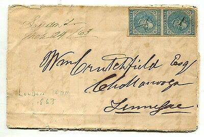 Loudon Te Mch 24 1863 CSA #7 vp on folded letter with contents to Chattanooga TN
