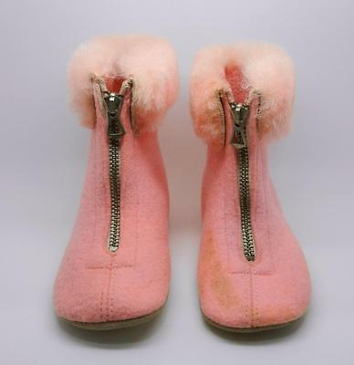 Vintage 1937 Pink Felt And Fur Baby Boots Size 2 With Original Box - Lb-C1397