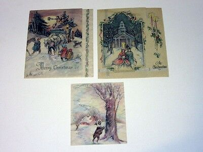 3 Vtg 30's Parchment Christmas Card Victorian stagecoach & church dog chases cat