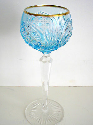 1 Vintage Val St Lambert Azure Blue Gold Rim Cased To Clear Crystal Wine Roemer