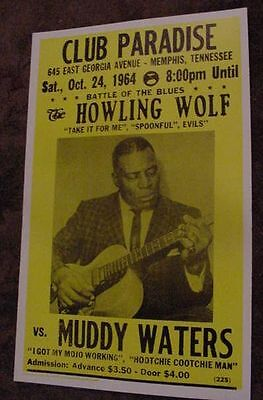 VINTAGE 60s HOWLING WOLF BLUES GUITAR CONCERT POSTER Oct. 24 1964 muddy waters