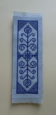 BOOKMARK - BLUE on Blue - Completed Cross Stitch