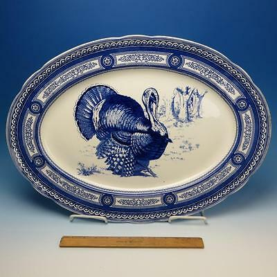 "Rare Royal Doulton China - Flow Blue Thanksgiving Turkey Platter - 23"" by 16½"""