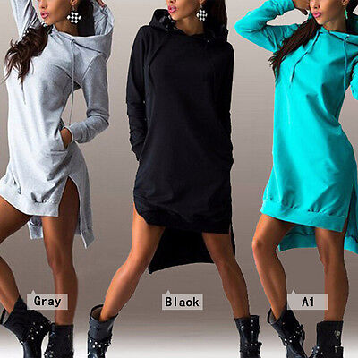 Womens Hoodies Hooded Sweatshirt Jumper Tops Sports Pullover Bodycon Short Dress