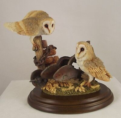 Country Artists Barn Owls with Plow © 1999 - Wood Base  CA-01295