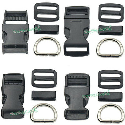 "1"" 25 mm Adjuster Triglides Buckle Hook Clip D Ring Side Release Dog Collar Bags"