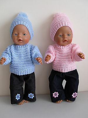 "Baby Born 17""  Dolls Clothes   Blue/pink Hand Knitted Outfit Set"