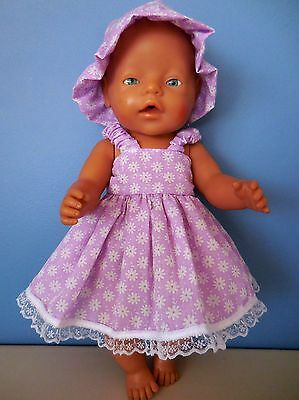 """Baby Born 17""""  Dolls Clothes Purple With White Flowers Summer Outfit"""