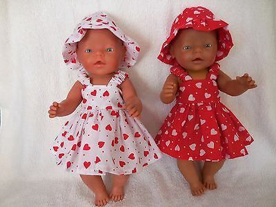 BABY BORN DOLLS CLOTHES RED or WHITE  SUMMER WITH  HEARTS OUTFIT