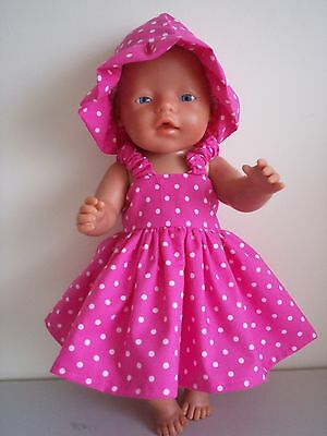 "Baby Born 17"" Dolls Clothes Pink/ White Dots  Summer Outfit"