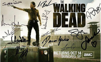 """The Walking Dead Multi-Signed   Pre-Printed Autograph On A   8""""x6"""" Metal Plaque"""