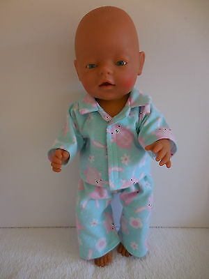 "Baby Born 17""  Dolls Clothes  Aqua With Pink Bunnies Flannelette  Pyjamas"
