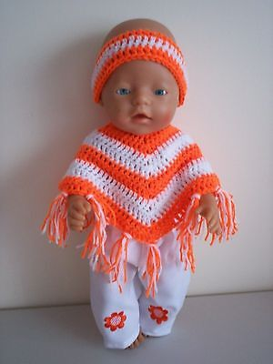 Baby Born Dolls Clothes Bright Orange Crochet Poncho Outfit