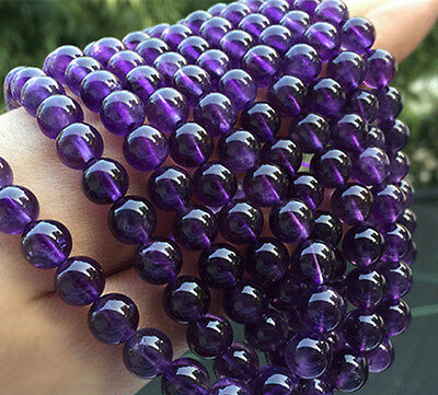 6/8/10mm Natural Russican Amethyst Round Gemstones Loose Beads 15'' Strand