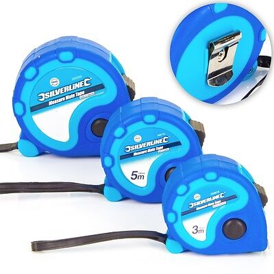SILVERLINE Small-Large 3M-10M TAPE MEASURE Soft Grip Rubber Reinforced Tip/Clip