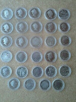 UK 50p PROOF DECIMAL FIFTY PENCE COINS IN CAPSULE CHOICE OF DATES FROM 1982-2019